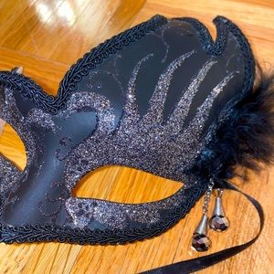 Custom Venetian feather beaded black mask one size